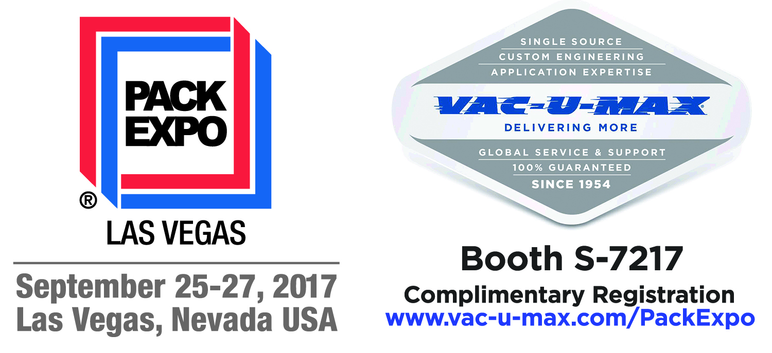 Image result for VAC-U-MAX proudly announces exhibition at Pack Expo 2017
