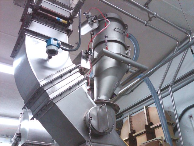 Nutriom uses two VAC-U-MAX pneumatic conveyors with a mixer — one system breaks the powder up and puts it into the mixer and the other pulls it out of the mixer.